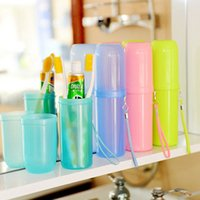 Wholesale Travel Plastic Cup Set - Wholesale- Portable utility toothbrush holder toothpaste tower plastic tooth case cover cup bath travel outdoor personal clean tool