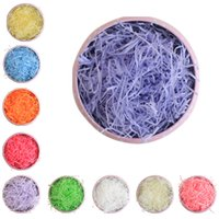 Wholesale Grass Paper Gift - Wholesale- 100g Pack Multi Color Fashion Craft Shredded Crinkle Paper Basket Shred Shredded Tissue Paper Grass Filler Wedding Party Gift