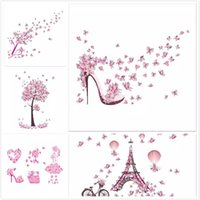 Wholesale Shoes Wall Sticker - 2017 Fashion High Heel Shoes Flying Butterflies Heart Flower Wall Sticker PVC Decals Home Decor Girl's Room Decor Poster