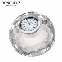 Atacado- DONOUCLS Apple Tabela Relógio Radiance Coll Corte Cristal Optical Glass Craft Round Clear 8cm X 8cm X 7.5cm