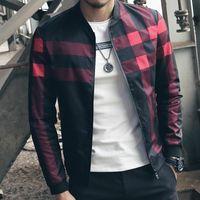 chaqueta de cuello rojo de los hombres al por mayor-2017 Nueva Marca de Moda Chaqueta de Hombre de Invierno Otoño Slim Fit Mens Ropa de diseño Hombres rojos Chaqueta Casual Slim Plus Tamaño M-5XL