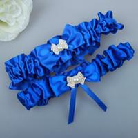 mavi düğün takımı toptan satış-Kraliyet Mavi Gelin Garters Yay Bacak Jartiyer Set Vintage Düğün Garters Kemerler Gelin Bacak Garters Stokta 2019 Ucuz
