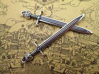 antikes silbernes schwert großhandel-21pcs-Schwert Charms, Antik Silber Game of Throne John Schneeschwert Charms Anhänger 67x14mm