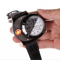 Wholesale Digital Watch Usb - Leather Band Wristwatch Luxury Man Watch with USB Rechargeable Windproof Cigarette Lighter