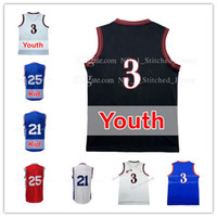 Wholesale Quality Boys - youth Kid Allen Iverson 3 joel embiid 21 Ben Simmons 25 Jersey High quality Cheap Men Allen Iverson Simmons embiid Basketball Jerseys