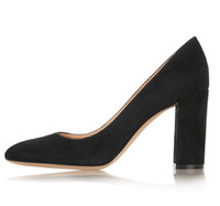 ingrosso tallone bloccato-Zandina Ladies Handmade Fashion Thick Block Heel Punta chiusa High Heel Party Office Pompe Scarpe BLack SL