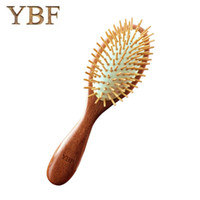 Wholesale wooden hair brushes - YBF 2017 Fashion NEW Wooden Red Sandalwood Air bag Hair Combs Natural Antistatic Head Massager Tool Airbag Relaxation Brushes
