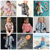 Wholesale Fruit Sleeves - INS Baby Boys Girls Cotton Rompers Infant Zipper Jumpsuits 42 Colors Long Sleeve Baby Clothes Fruit Stripe Cartoon Printing
