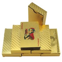 Wholesale Poker Playing Styles - Hot 24K Gold foil plated playing cards Plastic Poker US dollar Euro Style and General style 3 designs Free shipping