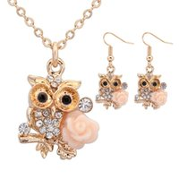 Wholesale Owl Chain Earrings - Fashion 2017 Women Jewelry Sets Earring Necklace OWL Rose Pattern High Quantity Gold Silver 2 Colors chain Free Shipping