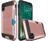Wholesale Pc Card Cover Black - Armor Credit Card Slot Phone Cases For iphone 8 x For Samsung Note 8 TPU+PC 2 in 1 Slim ShockProof Cover Case A