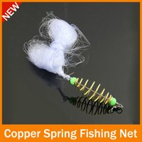 Wholesale Copper Fish Bead - HOTT SELL 50 pcs lot fishing net New Design Copper Spring Shoal Fishing Net Netting Luminous beads Swivel fishing tackle box