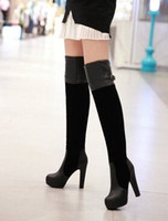 Wholesale Hot Sexy Girls Leather - Wholesale New Arrival Hot Sale Specials Super Fashion Influx Sweet Girl Sexy Suede Classic Buckle Splicing Knight Show Knee Boots EU34-39