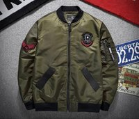 Wholesale One Collar Jackets For Men - 2017 Air Force one MA1 flying jacket for Men Embroidery varsity motorcycle Coat bomber pilots flight Outerwear