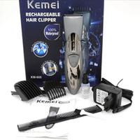 bıçaklı makaslar toptan satış-Kemei KM-605 Adam ve Çocuk Elektrikli Sakal Saç Düzelticiler Elektrikli Saç Kesme Giyotin Şarj Edilebilir Paslanmaz çelik bıçak
