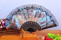 Wholesale hand fans for women for sale - Group buy Folding Hand Held Silk Plastic Fans Landscape character Fan Bulk for Women Spanish Vintage Retro Fabric Fans Mixed Colors quot