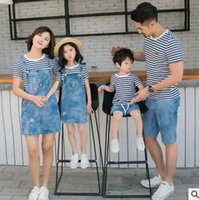 Wholesale Suspender Jeans Women - Family outfits fashion women girl stripe T-shirt+denim suspender dress 2pc sets father son top+jeans shorts 2pc clothing sets T3922