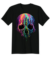 Wholesale Gothic Men Clothing - Colorful Painted Trippy Gothic Melting Skull Summer 2017 Funny Cool Men T-shirt Graphic Tee Fashion Clothing