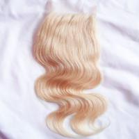 Wholesale lace front part closure - Blonde Brazilian Body Wave Lace Closure 613 Virgin Remy Human Hair Lace Front Closure Free Middle 3 Way Side Part