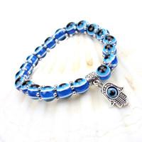 Wholesale Evil Blue Eye Charms - Wholesale-New Fashion Simple Evil Eye Hamsa hand religious charm blue beads Lucky bracelet Best Match Turkish bracelet for women