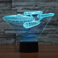 Wholesale Colorful Foreign - Foreign trade new Star Trek battleship 3D LED visual light touch light colorful gifts atmosphere lamp