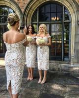 Wholesale tea length winter ivory wedding dress online - Tea Length Short Bridesmaid Dresses Off Shoulder Split Backless Country Wedding Guest Formal Wear Cocktail Party Dress Plus Size Cheap
