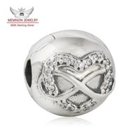 Wholesale Charm Clip Lock - Memnon Jewery Infinity Heart Clip Charms Beads For Jewelry Making 925 Sterling Silver AAA CZ Ball Lock Clips Fit charm Bracelets DIY KT063