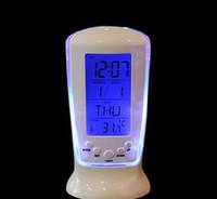 Wholesale Lcd Clock Night Light - Digital LCD Alarm LED Calendar Thermometer DateTime Night Light Alarm Clocks