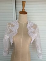 Wholesale High Collar Lace Wedding Shawl - Hot Sale Wholesale Elegant Long Sleeves High Collar Lace Wedding Bridal Bolero Bridal Wraps Shawls Women Shrug Coat Jacket Wrap 2018
