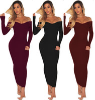 Wholesale plus size off shoulder sweater - Fashion Plus Size Women Clothing Autumn Dress Long Sleeve Off Shoulder Slash Neck Sexy Bodycon Slim Knitted Sweater Dress Party Clubwear