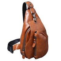 Vente en gros - Trendy New Men Messenger Bags Business Chest Pack Pack de sac de voyage fonctionnel Sac à bandoulière Body Crossbody Bags for Male Leather Bags