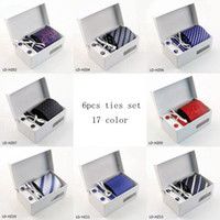 Wholesale Tie Clips Sell - Hot selling Wholesale ties for Men Polyester Dress Set 8cm Wide Woven Ties Set :Tie+ Cufflink + Tie clip +Hankie+Gift Box 1-10