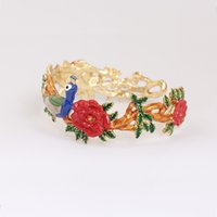 Les Nereides Enamel Jewelries For Lady Peacock Flores Bangle 18 Gold Plated Luxury Wedding Bracelets Frete Grátis