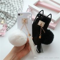 Wholesale South Korea Cat - South Korea cute cat i7 phone shell Apple 6   6splus soft shell sets of plush tassel hair ball shell