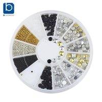 Wholesale 3d Decor For Nails - Wholesale- Blueness Gold Silver Black Beads Round Square Decor For Nails Wheel Alloy Manicure Studs Charms 3D Nail Art Decorations ZP123