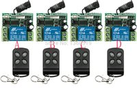 Wholesale Remote Receiver 12v Garage - Wholesale- New DC 12V 10A 1CH Remote Control Switch 4 Receiver 4 Transmitter Learning Code Momentary Toggle lamp  window Garage Doors