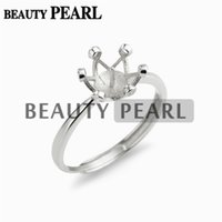 Wholesale Cabochons 8mm - 5 Pieces Crown Ring Settings 925 Sterling Silver Semi Mount for 8mm Round Pearls and Cabochons