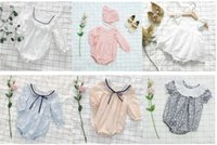 Wholesale New Cute Babys - New Baby Girls Boys Romper Sprng Summer Autumn Cute Babys Jumpsuits 6 Styles 6 p l