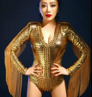 Wholesale Sexy Fishnet Bodysuit - Savagery gold sexy bodysuit female costume stage costume for bar party stage singer dancer star nightclub performance show