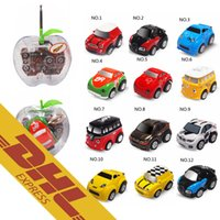 Wholesale Plastic Toy Apples - 36pcs lot Mini RC Stunt Car Apple Pear Shape Can Cars 4CH Radio Remote Control Vehicle 12 Colors Toys for Kids Christmas Gift