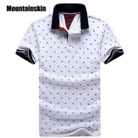 Wholesale Mens Casual Polo Shirts - New Brand Polos Mens Printed POLO Shirts 100% Cotton Short Sleeve Camisas Polo Casual Stand Collar Male Polo Shirt 4XL