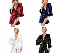 Wholesale Lingerie Satin Night - 10pcs Women sexy Nightwear Satin Lace Lingerie Sleepwear Robes Intimate night Gown Robes Kimono Exotic Apparel Babydolls Chemises M039