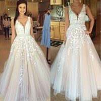 Wholesale Cheap Full Skirts - Gothic Blush Pink V Neck White Lace Full Wedding Dresses 2017 Vestidos De Novia Plus Size Beach Bridal Gowns Cheap BA3252