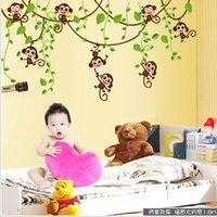 Autocollants muraux amovibles Cartoon Cute Monkey Climb Tree Autocollant en vinyle pour enfants Sticker de chambre Animal Plant Wallpaper 2 2pc F R