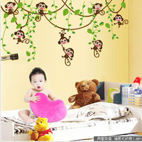 Wholesale Removable Wall Sticker Monkey Tree - Removable Wall Stickers Cartoon Cute Monkey Climb Tree Vinyl Sticker For Kids Room Decal Animal Plant Wallpaper 2 2pc F R