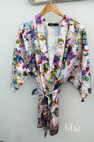 Wholesale Silk Floral Lavender - Flower Silk Brides Robes For Wedding 2017 Print Flower Purple Short Kimono Robe Bridesmaid Robes