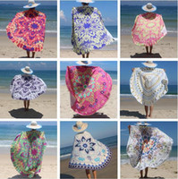Wholesale Cover Table Top - Table Cloths Round Beach Towel Green Summer 52 Styles Beach Cover Upr Shawl Blanket Polyester Beach Cover Mats Top Quality DHL Free Shipping