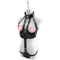 Wholesale Halter Open Crotch Teddy - Sex Products Queen Cupless Open Crotch Teddy Women Teddy Bondage Lingerie Leather Halter Body Harness Costume