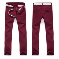 Wholesale Slim Straight Pants Men Wholesale - Wholesale- DEE MOONLY 2017 New Men's Slim Fit Casual Business Suit Pants mens Formal Straight Dress Trousers red, Black Free Shipping