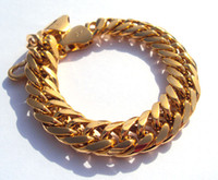Wholesale Heavy Yellow Gold Bracelet - MEN'S 24KT REAL YELLOW GOLD HGE 9 INCH HEAVY LUXURIOUS HYPOTENUSE NUGGET BRACELET JEWELRY SALES CHAMPION International Design Master